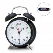 """4"""" Twin Bell Alarm Clock, Loud Retro Alarm Clock, Battery Operated With"""