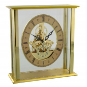 Contemporary Gold Mantel Table Clock W Skeleton Dial 16cm