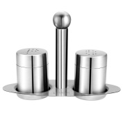 Mini Salt Pepper Shakers with Matching Stand,LUTAVOY LK01 Salt and Pepper Shakers Set, Stainless Steel Dining Table Set Set of 3 Cruet Set