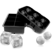 Toplus Silicone Sphere Ice Ball Mould & Large Square Ice Cube Mould, Silicone Ice Cube Trays Mould, Reusable & BPA Free