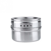 Mromick Stainless Steel Magnetic Spice Storage Jar Tins Container With Rack Holder