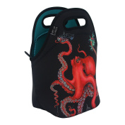 Neoprene Lunch Bag by ART OF LUNCH - Large [30cm x 30cm x 17cm ] Gourmet Insulating Lunch Tote - Design by Caia Koopman (USA) - $1 of every sale goes to support the Umijoo Project - Octopus Intertwined