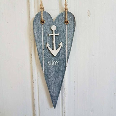 Shabby Chic Wooden Rustic Nautical Blue Anchor Heart Hang Decoration By Rjb Ston