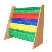 EWEI'S HomeWares 23x 25Inch x 28cm Lagre Kids Toy Sling Book Rack Display Shelf Organiser Children Bookshelf, Primary Colours