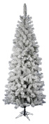 Vickerman Pre-Lit Flocked Pacific Tree with 500 Multicoloured Dura-Lit Lights, 2.6m, Flocked White on Green