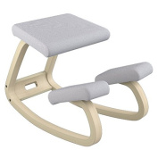 Varier Variable Balans Chair, Natural Lacquered Wood, Light Grey