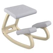 Varier Variable Balans Chair, Natural Lacquered Wood, Light Grey