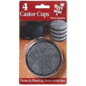 4x Castor Cups Black Padded Scratch Resistant Floor Furniture Chair Removal Wood