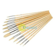 12pce Artists Paint Brush Set - Pointed Tips