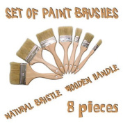 8 X Paint Brushes Natural Bristle For Painters Builders In / Out Side Painting