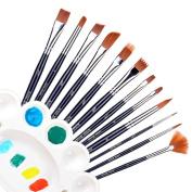 Ohuhu 12pcs Nylon Hair Art Paint Brush Set For Watercolour, Acrylics, Oil Bonus A