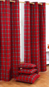 Homescapes Pair of 100% Cotton Ready Made Curtains - Edward Tartan Cheque - Red Green - 137 x drop 228 cm - 90 Inch Drop - Eyelet Ring Top Hand Woven - Heavy Not Lined