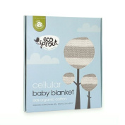 Eco Sprout Organic Cotton Cellular Baby Bassinet Blanket Natural/Dove Grey Stripe