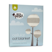 Eco Sprout Organic Cotton Cellular Cot Blanket Natural/Dove Grey Stripe
