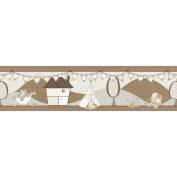 Sale Unisex Eleflump Brown Cream Wallpaper Border Nursery 5 Metres Now £3