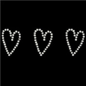 Diamanté Gem Border Wedding Favour Silver Heart Decorations Valentine's Day