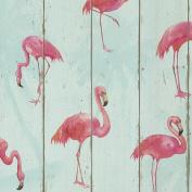 Rasch Barbara Becker Flamingo Wallpaper - Teal 479706 Wood Room Decor