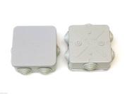 2x Square 80mm X 80mm X 40mm Weatherproof Junction Box + Grommets Connexion Box