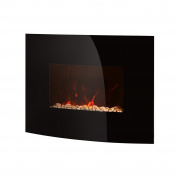 Warmlite Wl45022 Curved Glass Wall Fire, 2000w - Black
