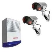 Dummy Solar Powered Infrared Bullet Security Cameras + Alarm Box
