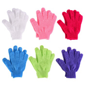 Hotop 6 Pairs Double Sided Exfoliating Gloves Body Scrubbing Glove Bath Scrubs for Shower, 6 Colours