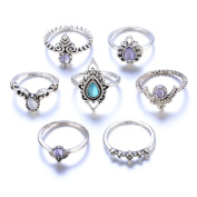 KEERADS 7 Pcs Women Vintage Bohemian Stack Above Knuckle Alloy Rings Set