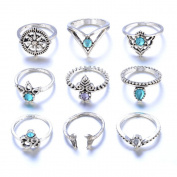 KEERADS 9Pcs Women's Stylish Shinning Sterling Silver Finger Rings Cut Diamond Anniversary Engagement Wedding Rings Fashion Chain Jewellery Sparkly Rings