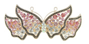 Ladies Metal Sparkly Crystal Hair Barrette Single Butterfly Pink