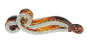Tortoise Brown Extra Sparkly Diamante Crystal Banana Hair Clip Butterfly Swirl