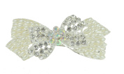 Ladies Metal Sparkly Faux Pearl & Crystal Bow Hair Barrette