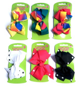 6pcs Polka and Colour Blend Big Hair Bows Boutique Girls Alligator Clip Grosgrain Ribbon Headband - 15cm