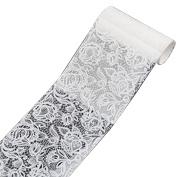 1 Roll nail art transfer sticker white design lace roses #7