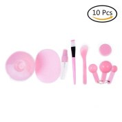 CosCosX 10 in 1 Lady Facial Care Mask Facemask Mixing Tool Set, Bowl Stick Brush Gauge Cleaning Mat