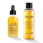 Natural Pacific Fresh Herb Origin Serum 50ml & Fresh Herb Calendula Tincture Toner 200ml Set Smooth & Vital skin