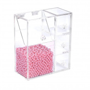 Makeup Brush Holder, Lipstick Holder Transparent Acrylic Cosmetic Organiser with 1 Slot Spaces Brush Rack and 3 Drawers Dustproof Box with 1500Pcs Pearl Beans