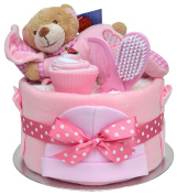 Lovely Pink 'Slumber Time' New Baby Girls Nappy Cake Baby Shower Gift - with FAST & FREE UK Delivery!