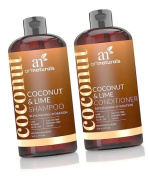 ArtNaturals Coconut-Lime Shampoo and Conditioner Set – (2 x 16 Fl Oz / 473ml) - Replenishing Hydration - Deep Moisturising For All Hair Types – Coconut, Lime, Aloe Vera and Rosehip