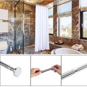 Telescopic Shower Curtain Rail Extendable 125-220cm Silver Stainless Wardrobe Uk