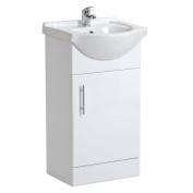450mm Bathroom White Gloss Vanity Unit Basin Ceramic Sink Cabinet Storage New