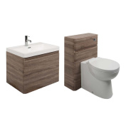 Oak Bathroom Vanity Unit Wall Mounted And Toilet Furniture Set