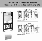 Toilet Wc Concealed Frame Bathroom Wall Hung 800mm Pneumatic Push Button