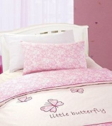 Polycotton Pink And Cream Butterfly Cot /toddler Bed Duvet Cover & Pillowcase Se