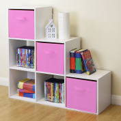White 6 Cube Kids Toy/games Storage Unit Girls/boys Bedroom Shelves 3 Pink Boxes