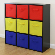 Black 9 Cube Kids Red Yellow & Blue Toy/games Storage Unit Girls/boys Bedroom