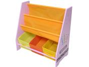 Bebe Style Children's Crayon Wooden Storage Rack/sling Bookcase, Pink