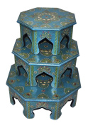 Lalhaveli Handpainted Floral Work Design Round Wood Stool & Wooden Chowki Set Of