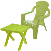 Kids Green Plastic Collapsible Table With Chair For Home Garden Picnic Party