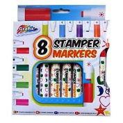 Large Stamper Fun Markers – Pack Of 8 Different Shapes And Colours - By Grafix