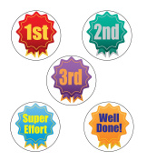 125 X Winner Rosette Sports Stickers, Fun Sports Day Stickers! Large 28mm Sticke
