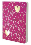 Go Stationery Shimmer A6 Gold Hearts Notebook - Pink